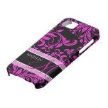 Damasco púrpura y negro elegante con el monograma iPhone 5 Case-Mate funda