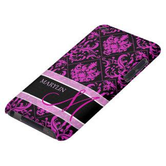 Damasco púrpura y negro elegante con el monograma Case-Mate iPod touch coberturas