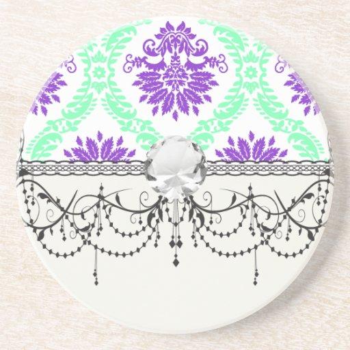 damasco púrpura y verde posavasos diseño