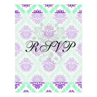 damasco púrpura y verde tarjeta postal