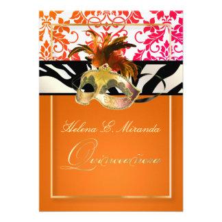 Damasco Quinceanera cebra de PixDezines Tanza Invitación