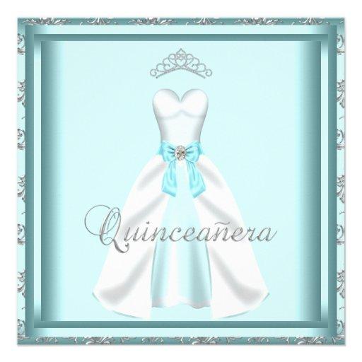 Damasco Quinceanera del trullo de la tiara del ves Invitacion Personalizada