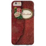 Damasco rasgado vintage y rosas rojos funda de iPhone 6 plus tough