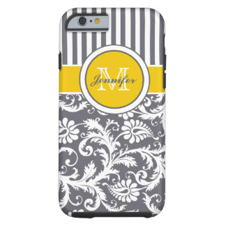 Damasco rayado amarillo del blanco gris del funda de iPhone 6 tough