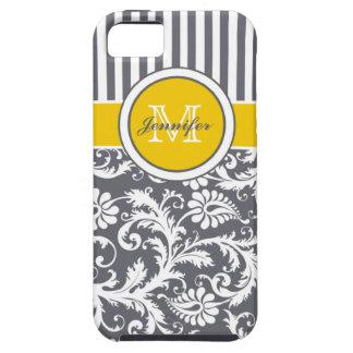 Damasco rayado amarillo del blanco gris del funda para iPhone 5 tough
