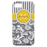 Damasco rayado amarillo del blanco gris del monogr iPhone 5 cárcasas