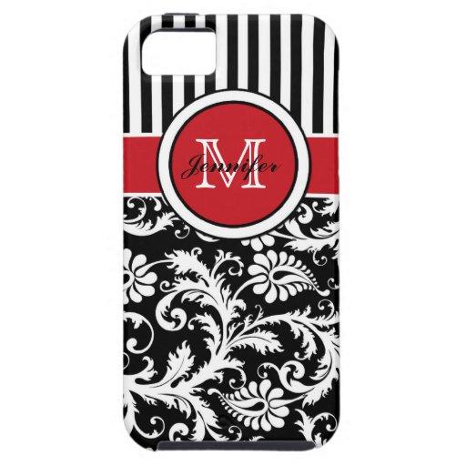 Damasco rayado blanco negro rojo del monograma iPhone 5 carcasas