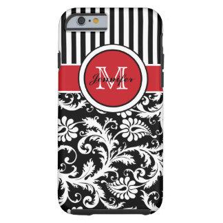 Damasco rayado blanco negro rojo del monograma funda de iPhone 6 tough