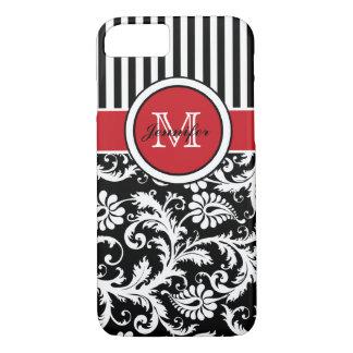 Damasco rayado blanco negro rojo del monograma funda iPhone 7