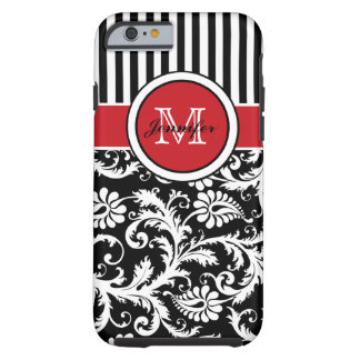 Damasco rayado blanco negro rojo del monograma funda resistente iPhone 6