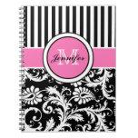 Damasco rayado blanco negro rosado personalizado libro de apuntes con espiral