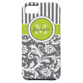 Damasco rayado del blanco gris de la cal del monog iPhone 5 cárcasas