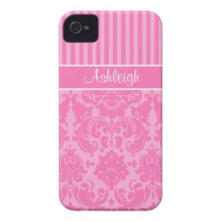 Damasco rayado personalizado del rosa y blanco iPhone 4 Case-Mate carcasa