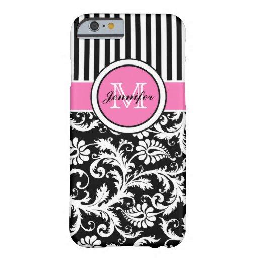 Damasco rayado rosado, negro, blanco con monograma funda de iPhone 6 barely there