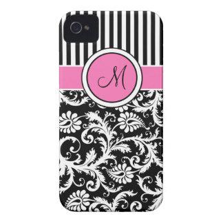 Damasco rayado rosado negro blanco con monograma iPhone 4 Case-Mate protector