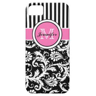 Damasco rayado rosado, negro, blanco con monograma iPhone 5 carcasa