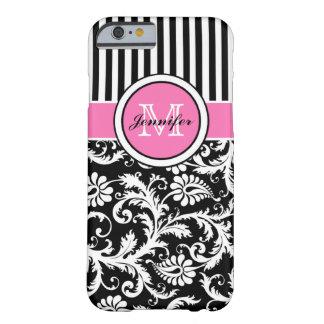 Damasco rayado rosado, negro, blanco con monograma funda barely there iPhone 6