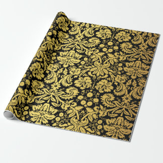 Damasco real clásico elegante del negro y del oro papel de regalo