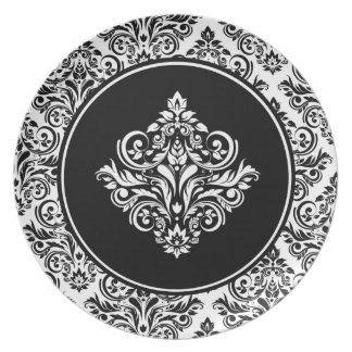 Damasco real con el emblema negro real del damasco platos de comidas
