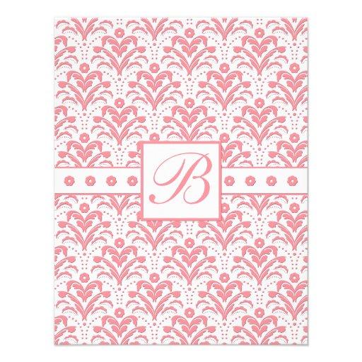 Damasco retro rosado y blanco elegante del art déc anuncios personalizados