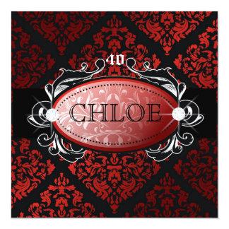 """damasco rojo 40 del regaliz 311-Luxuriously Invitación 5.25"""" X 5.25"""""""