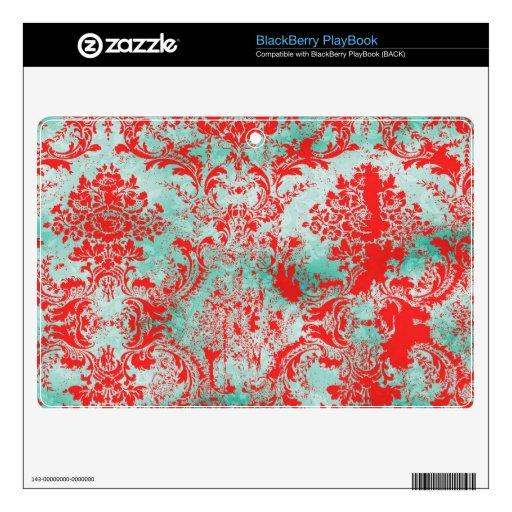 Damasco rojo BlackberryPlaybook de la turquesa del BlackBerry Calcomanías