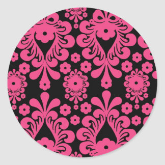 damasco rojo de la MOD del rosa de la frambuesa ne Pegatina Redonda