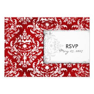 Damasco rojo de rubíes RSVP del vintage de la CROM Anuncios Personalizados