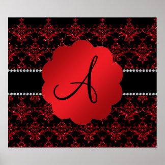 Damasco rojo del brillo del monograma posters