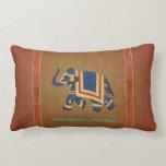 Damasco rojo del elefante del oro lumbar de la alm almohadas