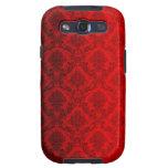 Damasco rojo del Victorian Samsung Galaxy S3 Carcasa