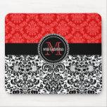 Damasco rojo negro elegante personalizado tapetes de ratones