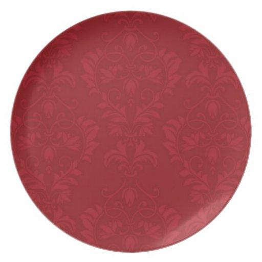 Damasco rojo plato para fiesta
