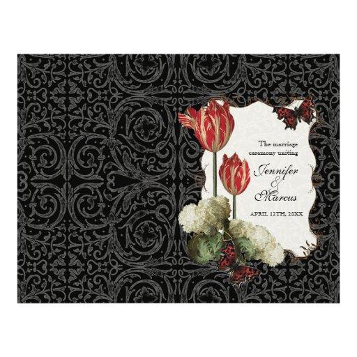 Damasco rojo poner crema negro del tulipán de n -  tarjetón