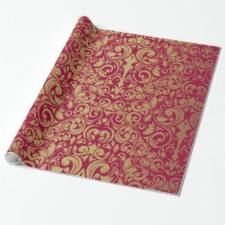 Damasco rojo real del brillo elegante del oro papel de regalo