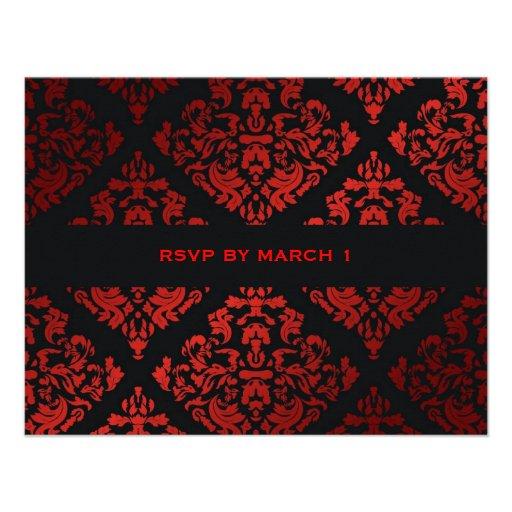 damasco rojo RSVP del regaliz 311-Luxuriously Invitaciones Personalizada
