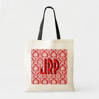 Damasco rojo y blanco bolsa tela barata