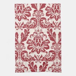Damasco rojo y blanco de la toalla de cocina…