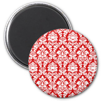 Damasco rojo y blanco imán redondo 5 cm