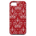 Damasco rojo y blanco romántico del vintage iPhone 5 carcasa
