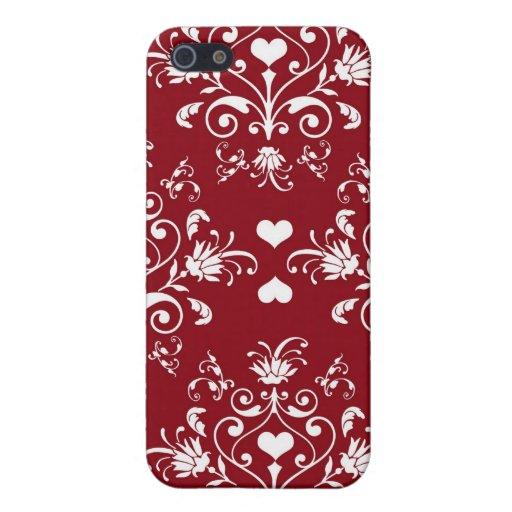 Damasco rojo y blanco romántico del vintage iPhone 5 carcasas