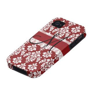 Damasco rojo y blanco su monograma Case-Mate iPhone 4 funda