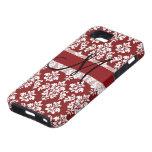 Damasco rojo y blanco su monograma iPhone 5 Case-Mate protector