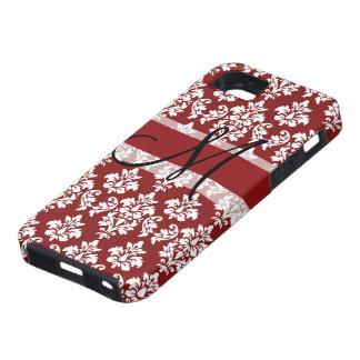 Damasco rojo y blanco su monograma funda para iPhone 5 tough