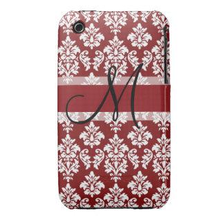 Damasco rojo y blanco su monograma iPhone 3 Case-Mate cobertura