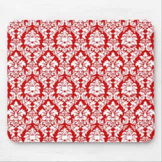 Damasco rojo y blanco alfombrillas de raton