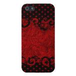 Damasco rojo y negro elegante iPhone 5 coberturas