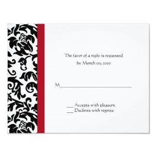 """Damasco rojo y negro que casa las tarjetas de RSVP Invitación 4.25"""" X 5.5"""""""