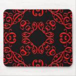 Damasco rojo y negro tapete de ratón