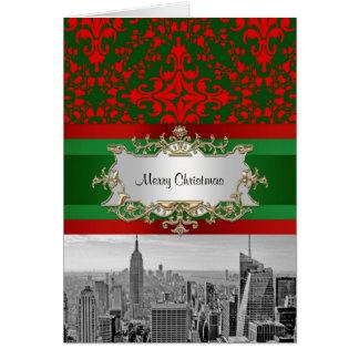 Damasco rojo y verde de la apariencia vintage del  tarjeta